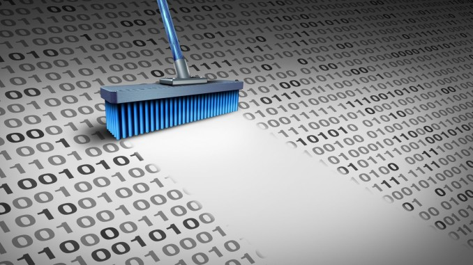 Deleting data technology concept as a broom wiping clean binary code as a cyber security symbol for erasing computer information or to delete an email and clean a hard drive server with 3D illustration elements.