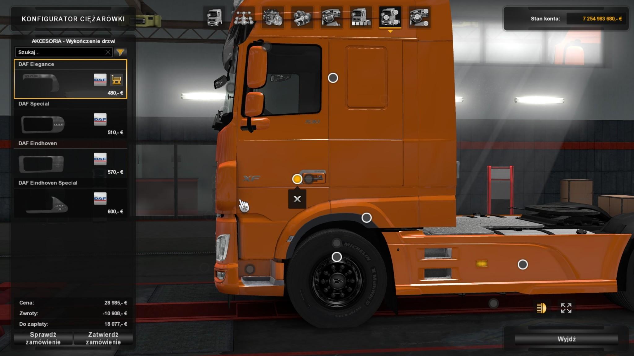 Euro Truck Simulator 2 - DAF Tuning Pack - klamki