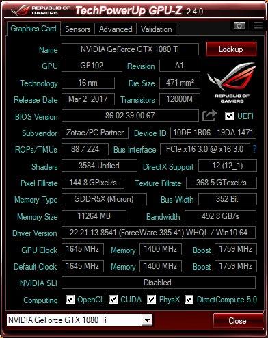 Zotac GX1080Ti AMP! Extreme - test - GPU-Z